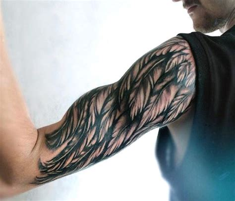 wing arm tattoo half sleeve wing tattoos on mens arm tattoos