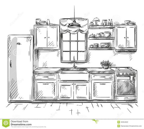 interior drawing kitchen interior drawing vector illustration stock vector image 46354022