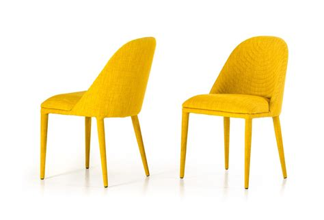 modern yellow fabric dining chair set of 2