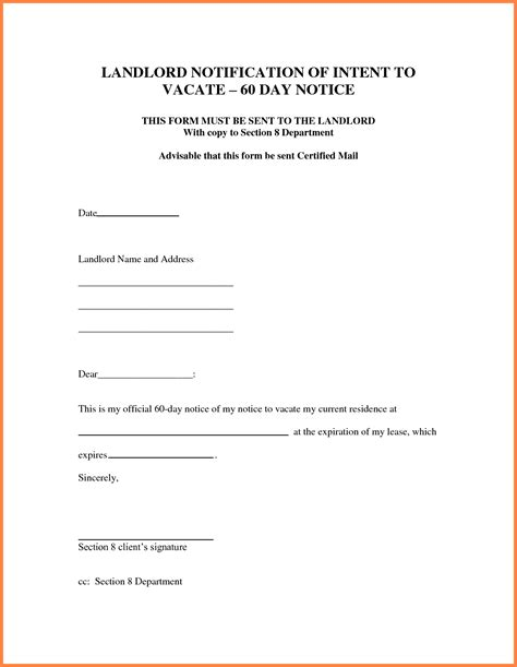 8 30 day notice letter to landlord sle notice letter
