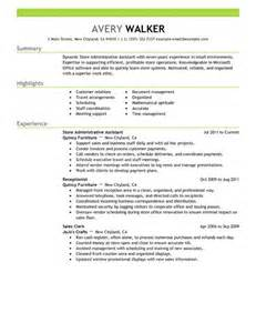 Sles Of Administrative Resumes by Best Store Administrative Assistant Resume Exle Livecareer