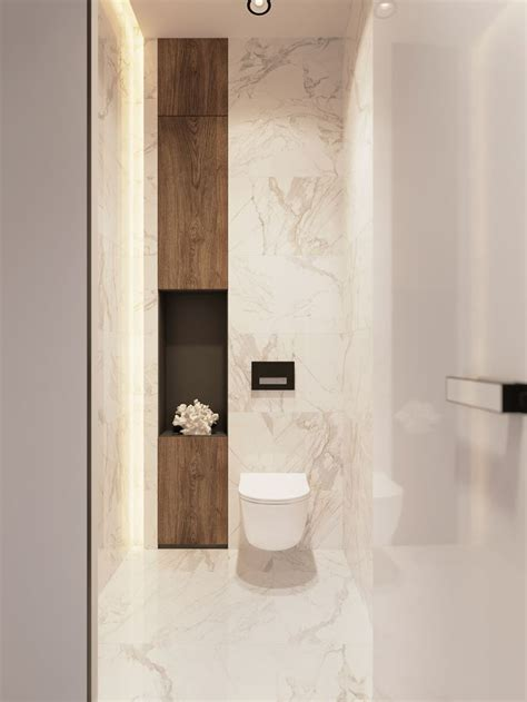 Modern Wood Bathroom by Marble Bathroom With Wood Niche Bathroom Decor In 2019