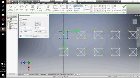 rectangular pattern inventor sketch patron rectangular sketch autodesk inventor youtube
