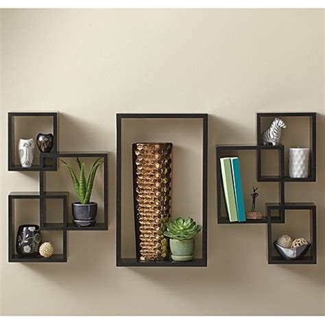 piece interlocking wall shelf set cosmo black bed bath