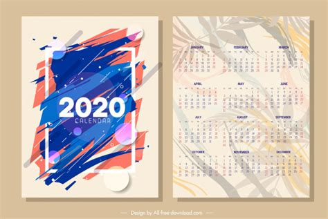 calendar template abstract blurred design leaves ornament vector abstract  vector
