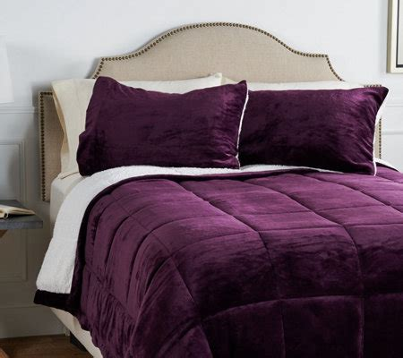 velvet soft cozy sheet sets full size berkshire velvet soft to sherpa comforter set page 1 qvc