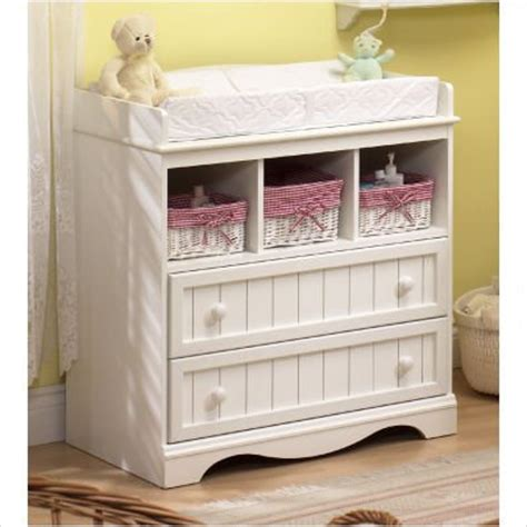 Nursery Changing Table Country Style Pure White Finish Nursery Changing Table