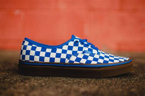 blue pattern vans vans authentic checkerboard blue gum sneaker bar detroit