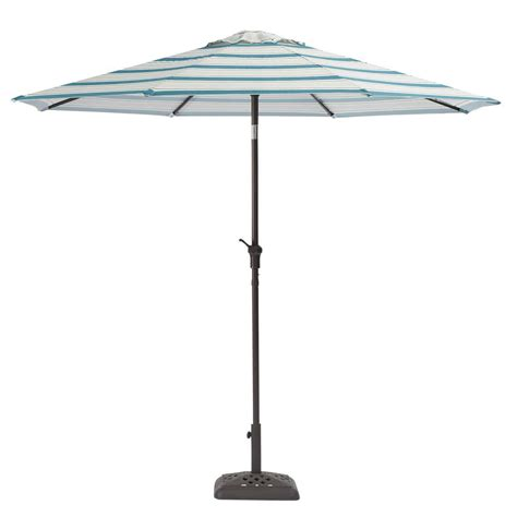 Crank And Tilt Patio Umbrella Hton Bay 9 Ft Steel Crank And Tilt Patio Umbrella In Surplus Stripe Yjauc 171 Ss The Home