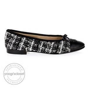 chanel black tweed ballerina flats size 6 5 yoogi s closet