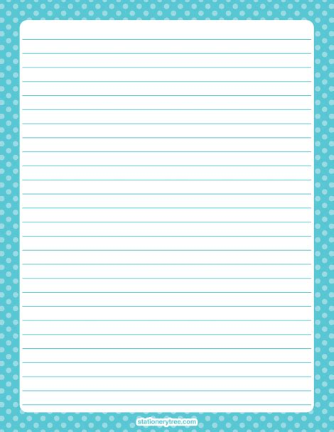 stationery writing paper printable blue polka dot stationery and writing paper