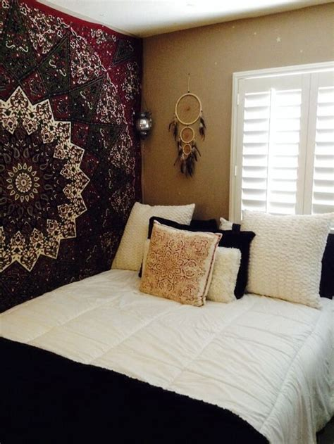 bedroom tapestry bedroom mandala wall handing black white bed