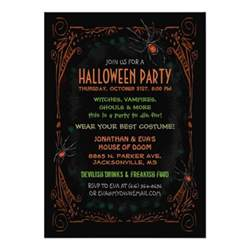 invitation black orange spiders custom announcements