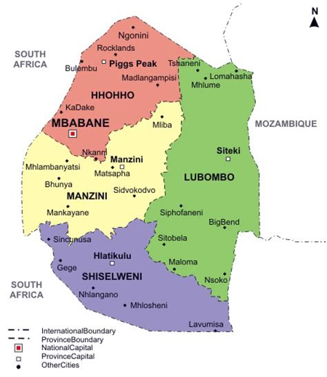swaziland map swaziland detailed political map with regions and cities vidiani maps of all countries