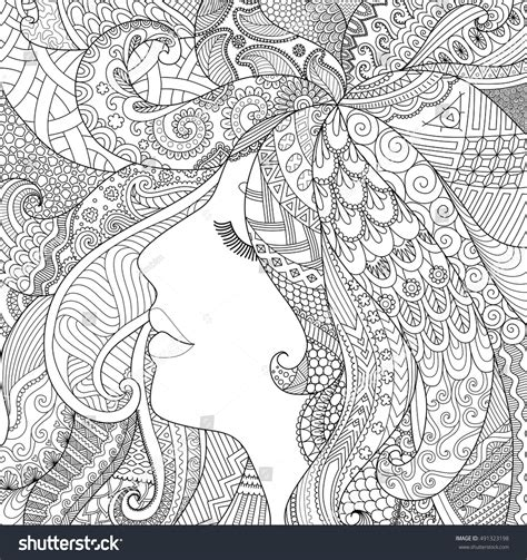 zendoodle coloring pages for adults zendoodle design girl sleeping shadow effect stock vector