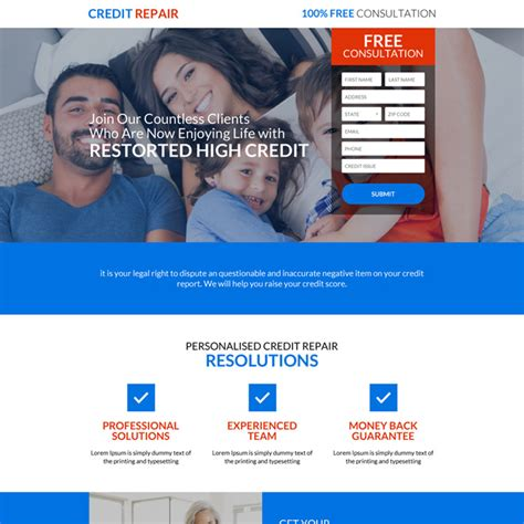 Credit Repair Website Template Free landing page design template exle for best practice
