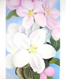georgia o keeffe flower print apple blossoms red