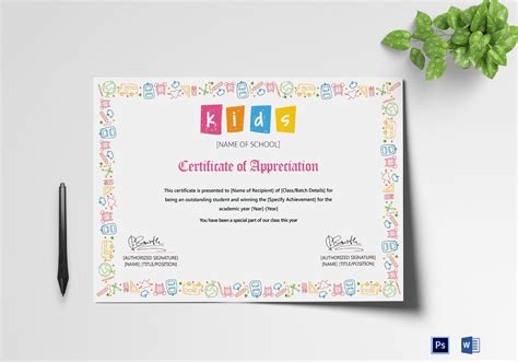 student certificate templates for word outstanding student appreciation certificate design