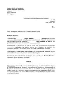 Lettre Demande De Prolongation Visa Exemple Gratuit De Lettre Demande Renouvellement Autorisation Travail Travailleur 233 Tranger