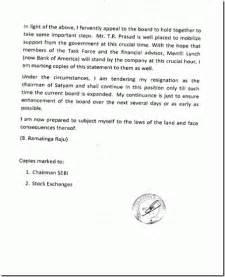 Ramalinga Raju Resignation Letter by B Ramalinga Raju S Letter To The Board Vikas Khera