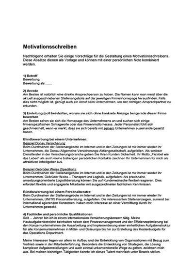 Motivationsschreiben Und Bewerbungsschreiben motivationsschreiben vorlage zum lebenslauf