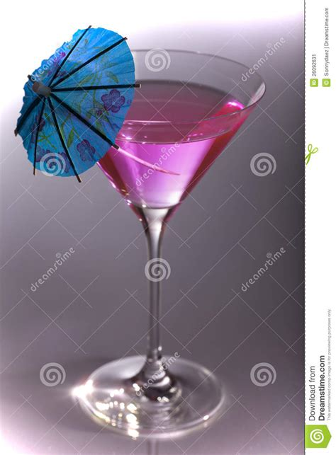 martini glass with umbrella party cocktail in martini glass with umbrella stock image