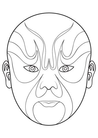 kabuki mask template opera mask 5 coloring page from masks category