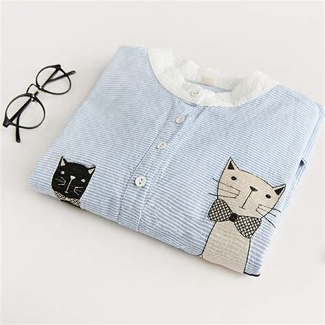43509 Blue Striped Embriodery Blouse embroidery blue striped blouse