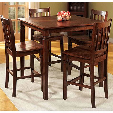 Kitchen Tables At Walmart Walnut Counter Height Walnut Dining Set 5 Pieces Walmart