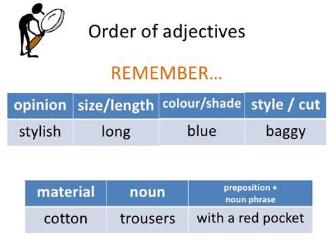 order stylosj describing clothes order of adjectives