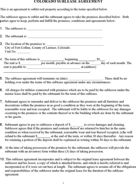Free Colorado Sublease Agreement Template Pdf 104kb 2 Page S Sublease Agreement Template Colorado