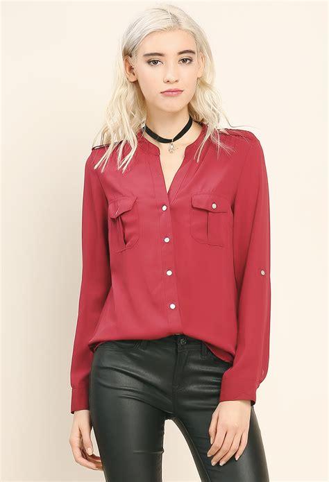 Blouse 3 Tone Sweater 3 Warna flat collar blouse shop blouse shirts at papaya clothing