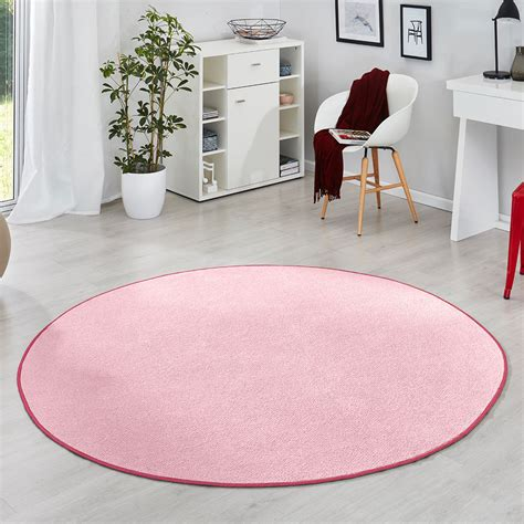 Runder Rosa Teppich by Kurzflor Uni Velours Teppich Fancy Einfarbig