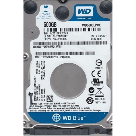 Hardisk Laptop Wd Blue 500gb western digital blue wd 500gb 2 5 quot laptop drive cad 47 58 picclick ca