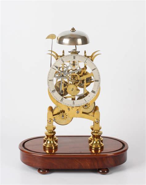 english brass lyre shaped skeleton clock dents circa