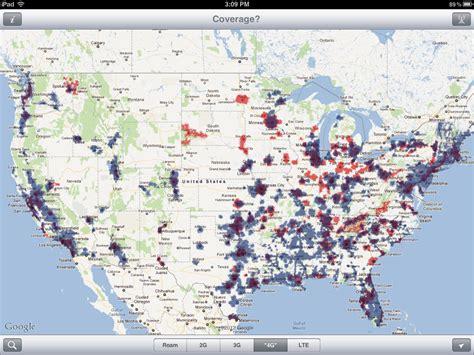 verizon att 4g lte coverage maps comes in comparison