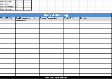 Action Log Template Log Templates Daily Log Template