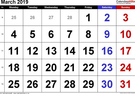 calendar march  uk bank holidays excelpdfword templates
