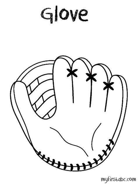 baseball glove coloring page my first abc