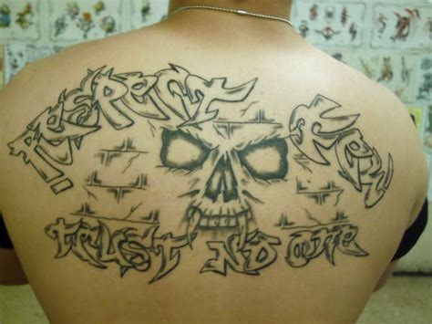 trust none tattoo respect few trust no one on back