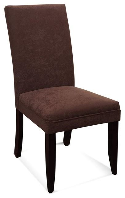 Microfiber Parsons Dining Chairs Classic Parsons Chair In Cocoa Microfiber Traditional Dining Chairs