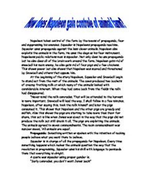 Animal Farm Propaganda Essay by How Does Napoleon Gain Controle Of Animal Farm Gcse Marked By Teachers
