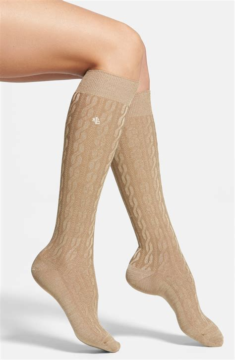 knee high knit socks ralph cable knit knee high socks in beige camel