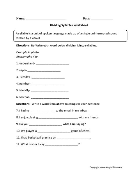Syllables Worksheets by 17 Best Images Of Free Syllable Worksheets 1st Grade