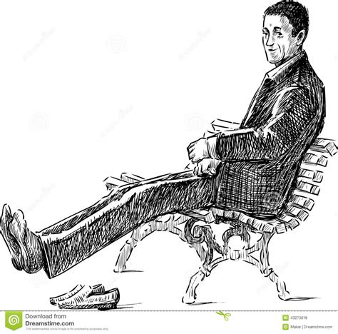 how to draw people sitting on a bench man resting on a bench stock photo image 43273018