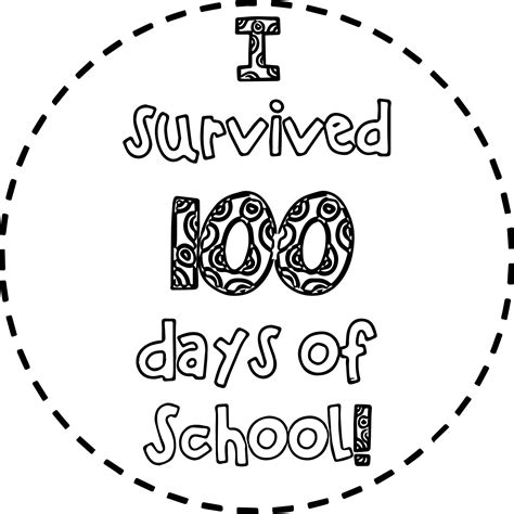day of school coloring pages survived 100 days of school coloring page wecoloringpage
