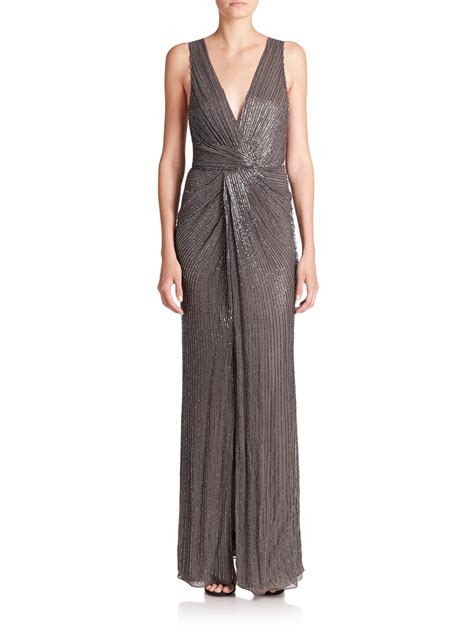 grey beaded gown lyst black monarch beaded silk gown in gray