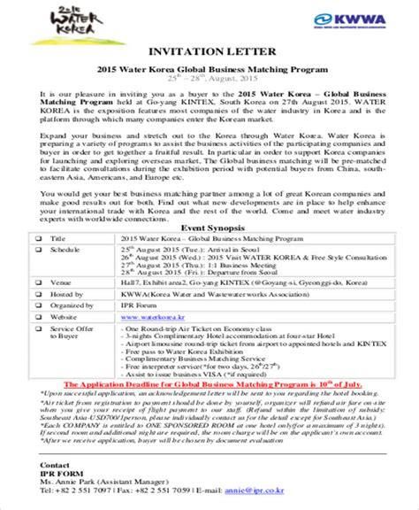 sample business invitation letter  examples  word