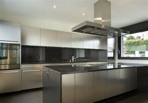 stainless steel kitchen ideas wide window tile floor stainless steel kitchen