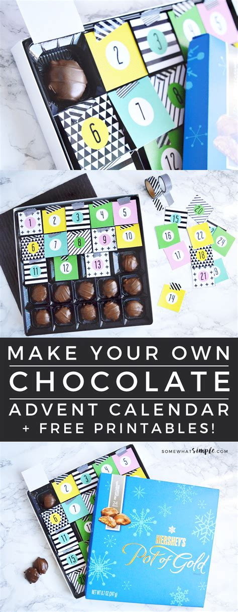 Diy Chocolate Christmas Advent Calendar Free Printables Make Your Own Advent Calendar Template